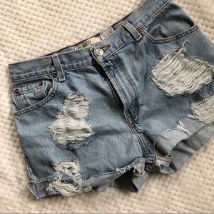 Levi's High Waist Distressed Shorts Size 12
